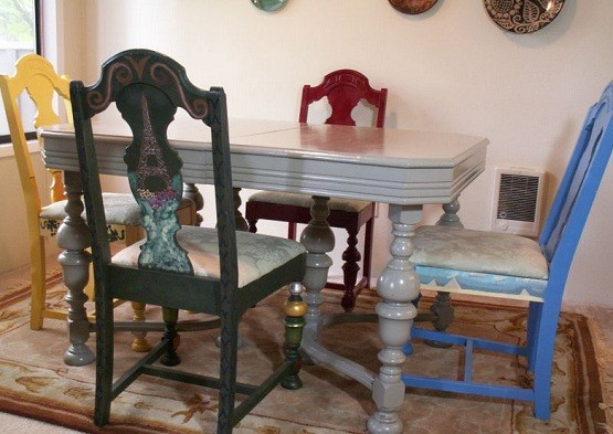 the ways of painting to make unique dining room chairs