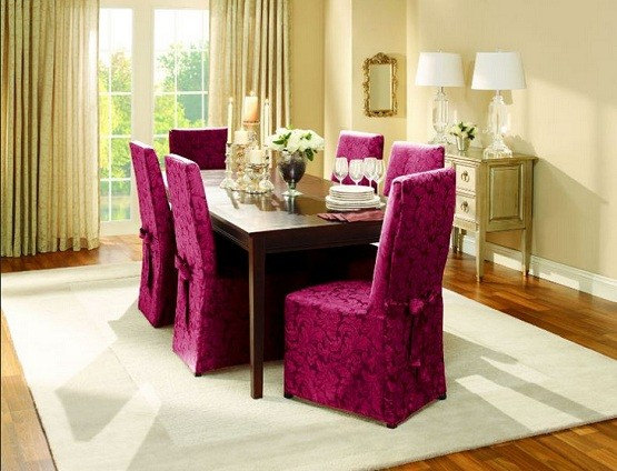 Attractive design and color seat covers for dining room chairs