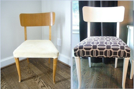 Refurbishing high back chairs with paint & brown emerald cut fabric