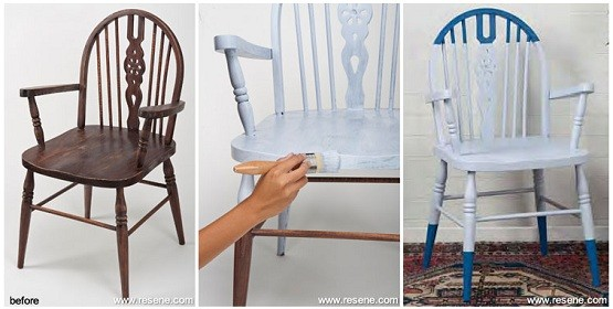Refurbishing high back dining room chairs with paint; image: resene.co.nz