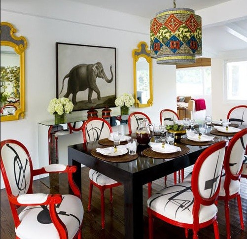 Refurbishing high back dining room chairs with red & white color