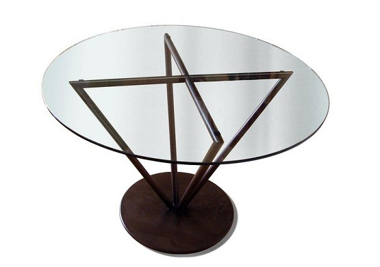 Contemporary glass round table for dining room
