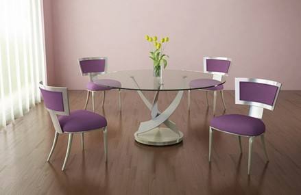 How To Make Your Own Round Glass Dining Room Table » Round Glass Table With Purple  Dining Room Chair