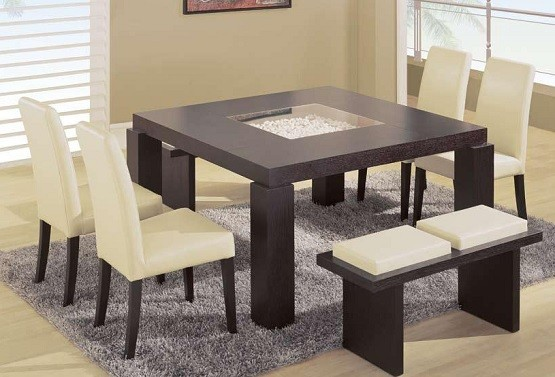 Contemporary dining table with bench | Home Interiors
