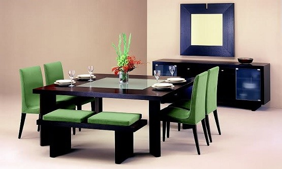 Minimalist concept of dining room table with benches