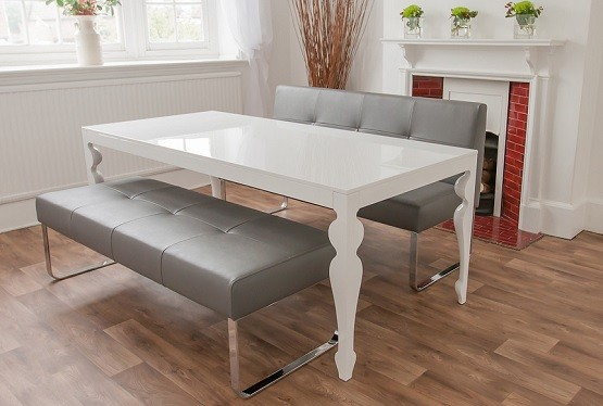 White gloss dining room table and genoa benches by danetti | Home ...
