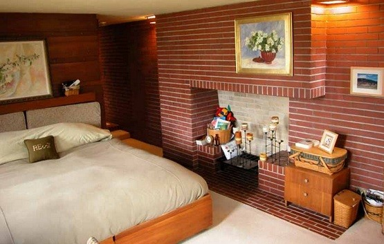 bedroom brick wall design ideas