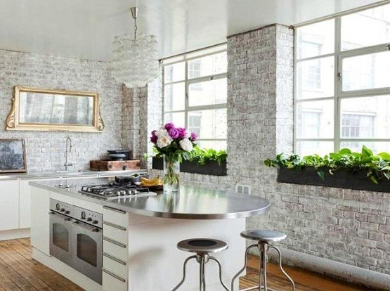 Kitchen With White Painted Brick Wall Home Interiors