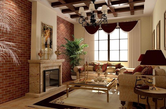 Red brick wall in vintage living room home interiors for Brick wallpaper living room ideas
