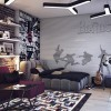 Teens bedroom design with bick wall