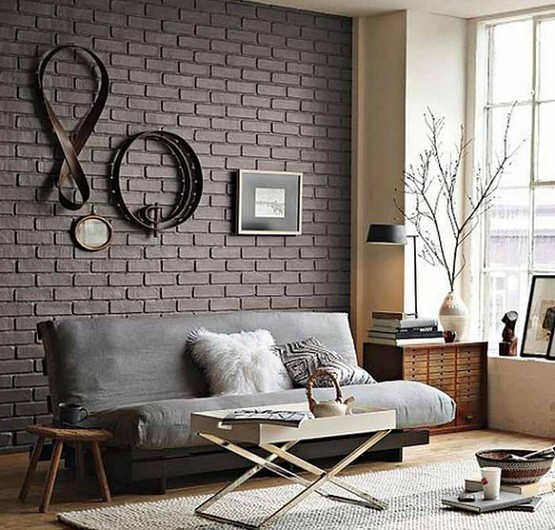 black brick wall in stylish living room