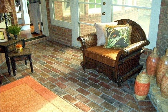 Interior Brick Flooring With Wax In Living Room