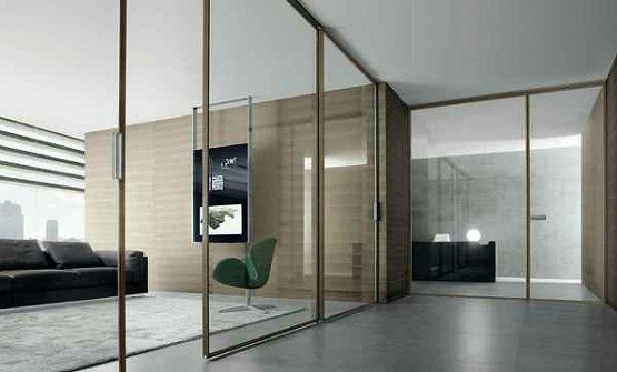 Interior stained glass sliding doors