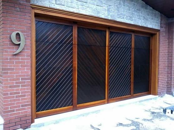 Custom wood & stained garage doors