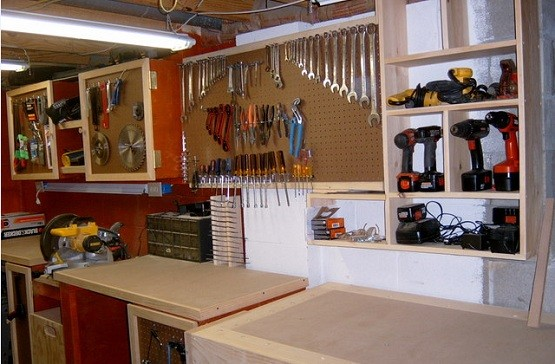 Garage workbench from Old Cabinets
