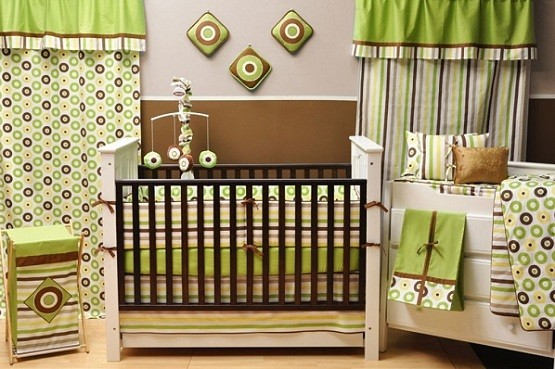 Affordable green and brown baby cribs