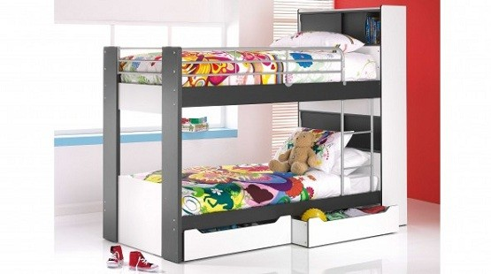 Black & white bunk beds design with storage