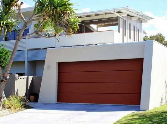 Modern wooden garage doors style