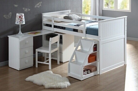 White Loft Bed with Desk and Stairs 555 x 369