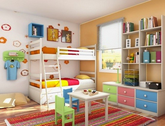 White bunk beds with 3 storage drawers and stairs