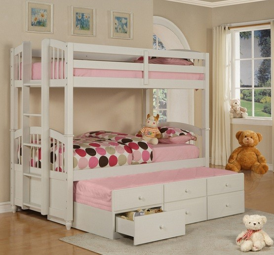 White bunk beds with storage drawers for little girl & White Bunk Beds with Storage and Its Advantages | Home Interiors