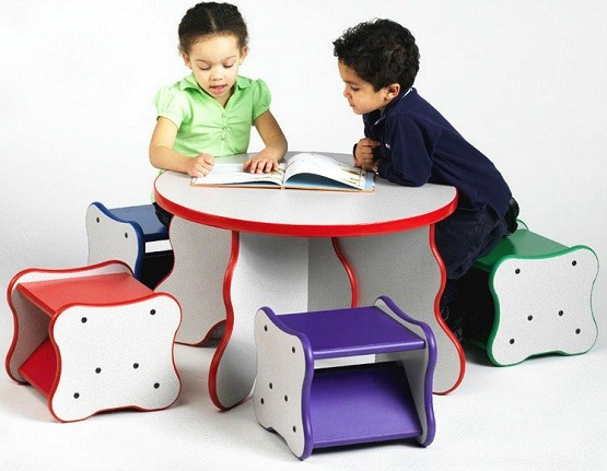 Desks for kids with four chairs
