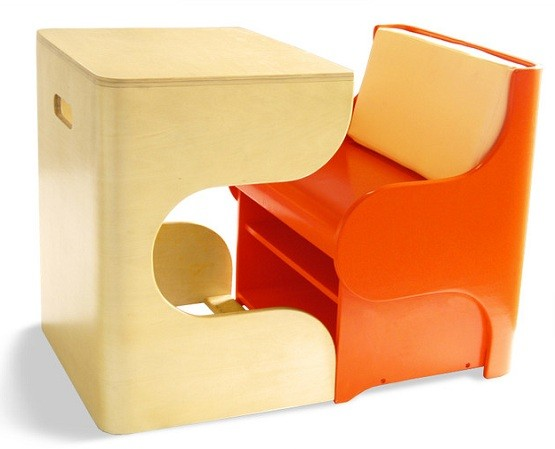 Single desks for kids with lovely orange chair