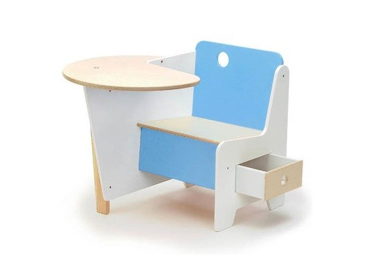 White & blue kids desk with drawer under chairs