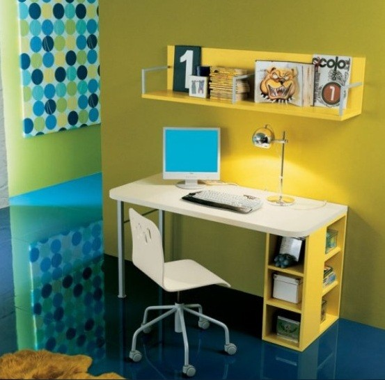 White & yellow desks for kids with bookcases
