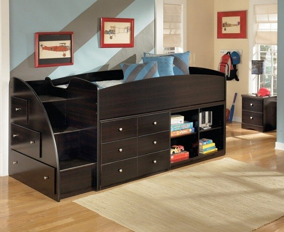 Black twin storage beds for kids with left storage