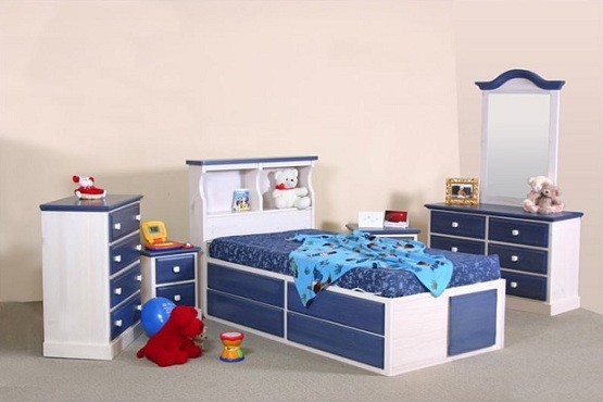 Blue twin storage beds for kids with dresser