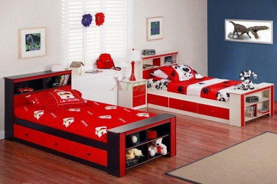 Colorful storage beds for kids