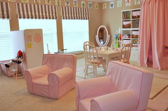 Cushy pink armchair for kid girl playroom