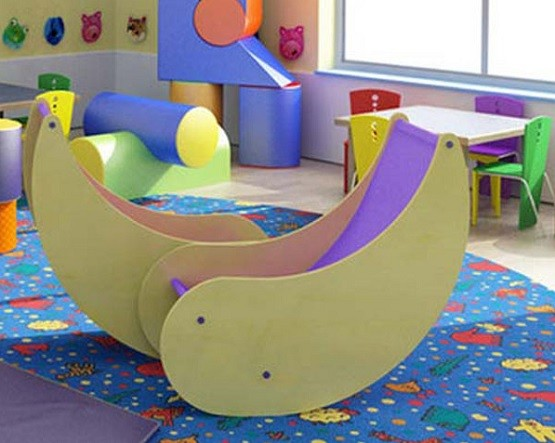 Kids playroom seating with banana-moon chairs