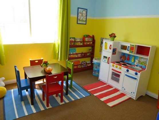Kids playroom table and chairs furniture set for girl