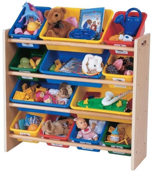 Kids storage bins with colorful plastic