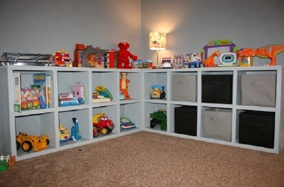 Kids storage solution for toys with L shape model