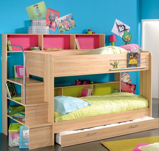 Natural brown kids bunk bed sets with stairs