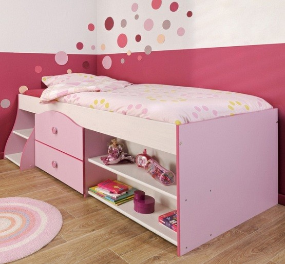 Pink twin storage beds for kids