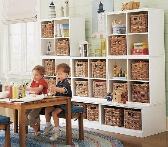 Rattan basket and white shelves storage for kids
