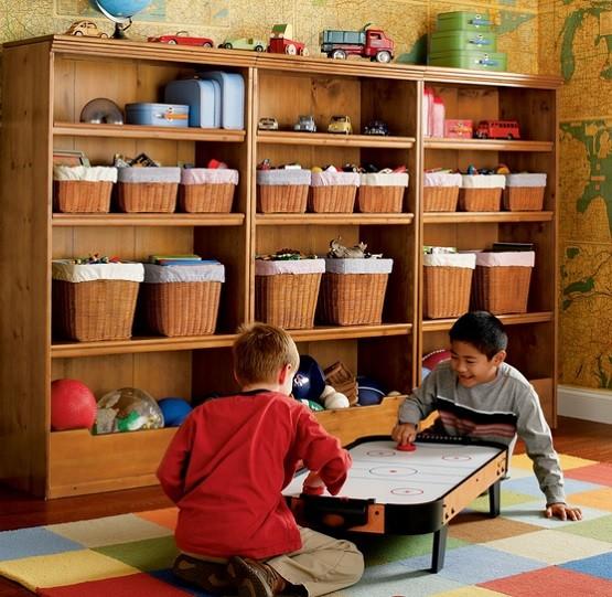 Rattan basket storage for kids playroom
