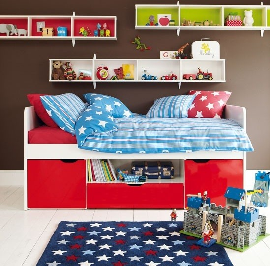 Red and white storage beds for toddler