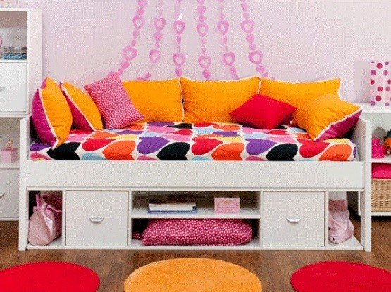 Single White Storage Cabin Bed For Kids