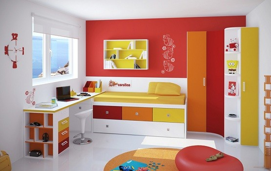 Storage beds for kids with colorful drawer