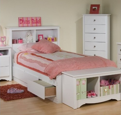 Twin storage beds for kids with headboard