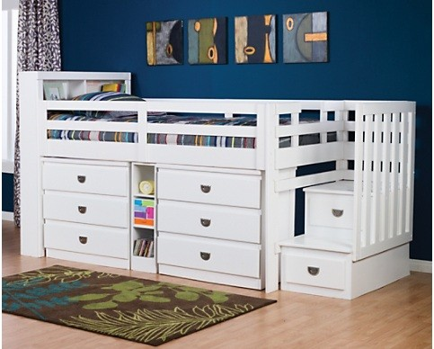 Twin storage loft beds for kids with rails system