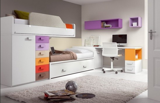 White bunk bed sets with colorful drawer