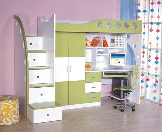 White Bookcase And Desk Combination Kids Bunk Bed Sets Satisfy The Children Green With