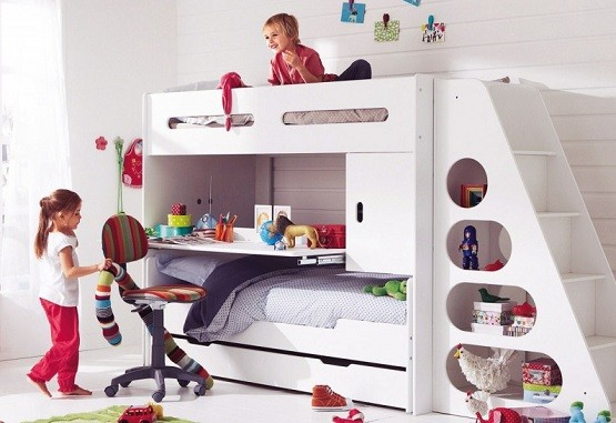 Kids Bunk Bed Sets Satisfy The Children White With Slide Study Desk