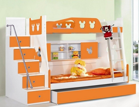 White & orange toddler storage beds